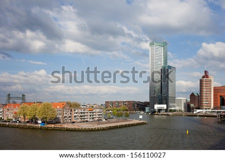 City of Rotterdam cityscape and Nieuwe Maas (New Meuse) river in Netherlands, South Holland province. - stock photo