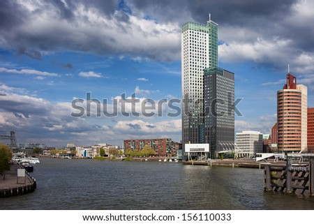 City of Rotterdam skyline and Nieuwe Maas (New Meuse) river, Netherlands, South Holland province. - stock photo