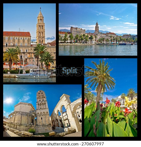 City of Split nature and architecture collage, Dalmatia, Croatia - stock photo