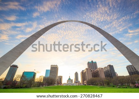 City of St. Louis skyline at twilight. - stock photo