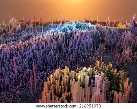 City of the future, skyscrapers, science fiction, abstract - stock photo