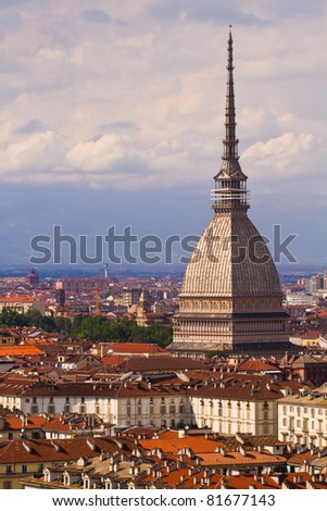 City of Turin and Mole Antonelliana  skyline panorama seen from the hil - stock photo