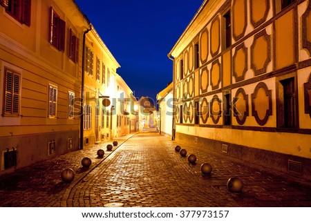 City of Varazdin historic street evening view, northern Croatia - stock photo