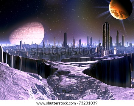 City on Dying Alien World with Satellite Ship in orbit - stock photo