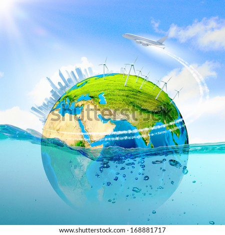 City on island floating in water. Global warming.  - stock photo