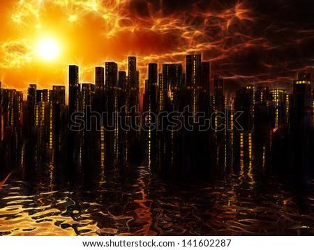 City on water sunset or sunrise - stock photo