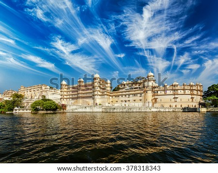 City Palace view from the lake. Udaipur, Rajasthan, India - stock photo