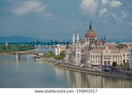 City panorama of Budapest with the Parlament building - stock photo