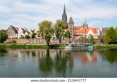 city panorama of Ulm - stock photo