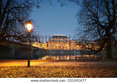 City park and National Theatre in Prague, Czech Republic - stock photo
