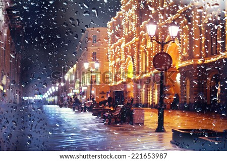 city �¢??�¢??pedestrian street night city lights - stock photo