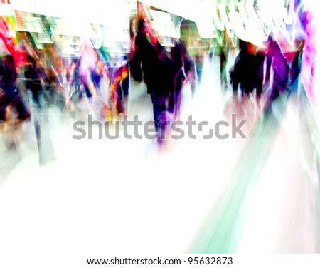 city people crowd background blur action - stock photo