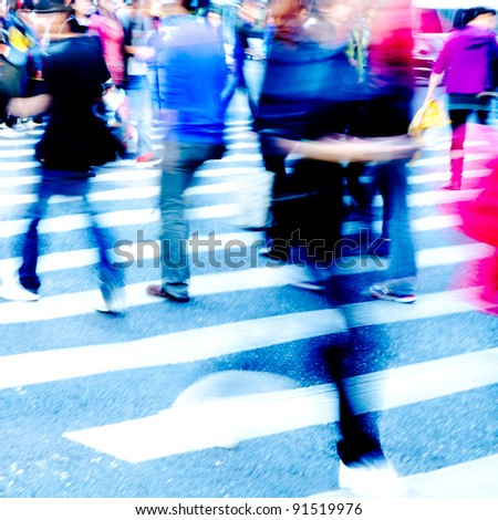 city people crowd on zebra crossing street - stock photo