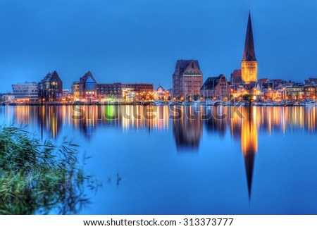 City port of Rostock by night (Mecklenburg-Vorpommern, Germany)  - stock photo