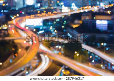 City road curve night traffic light, abstract blur bokeh background - stock photo