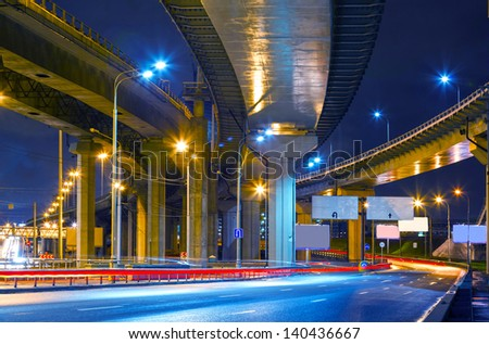 City Road overpass at night with lights - stock photo