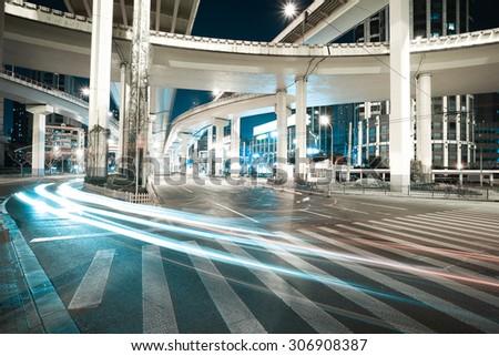 City road viaduct streetscape of night scene - stock photo