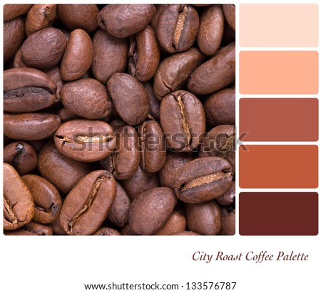 City Roast coffee bean colour palette with complimentary swatches. Part of a series of five images showing grades of roasted coffee. - stock photo