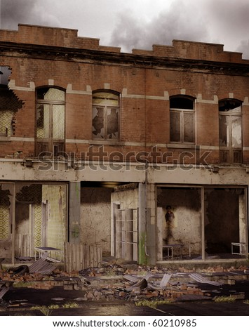 City ruins with old brick buildings - stock photo