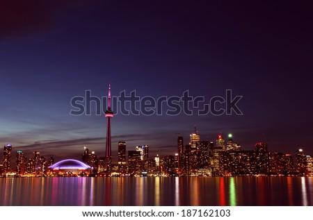 City scape at night of Toronto, Canada   - stock photo