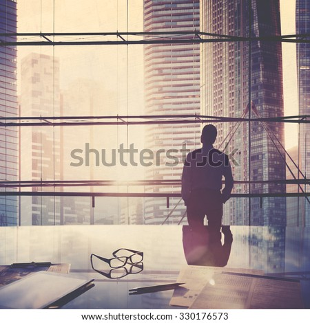 City Scape Businessman Leader Thinking Concept - stock photo