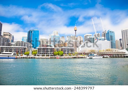City scape of Darling Harbour in Sydney, Australia.The harbour is a large recreational and pedestrian precinct that is situated on western outskirts of the Sydney. - stock photo