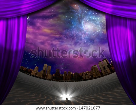 City seen through curtains in desert scene - stock photo