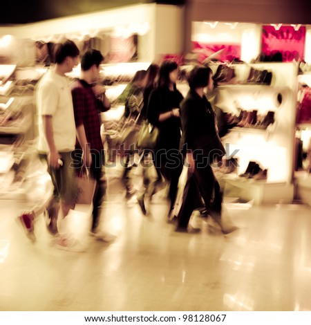city shopping people crowd at marketplace shoe shop abstract background - stock photo