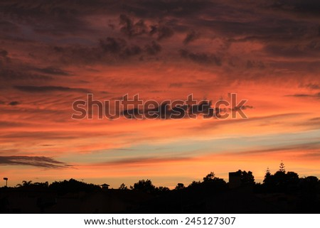 City silhouette after sunset - stock photo