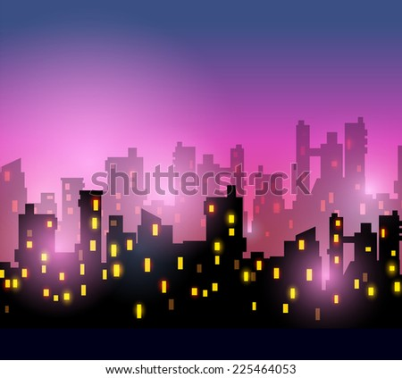 City silhouettes of different colors on red - stock photo