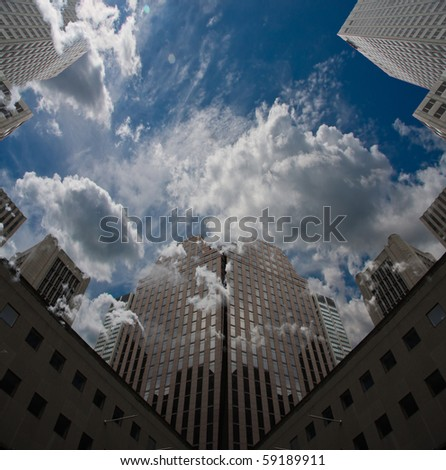 City Sky Scape with clouds and blue sky - stock photo