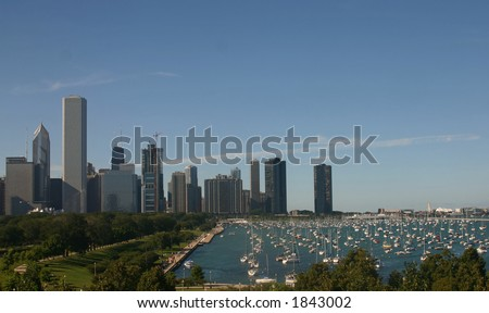City Skyline and Shoreline - stock photo