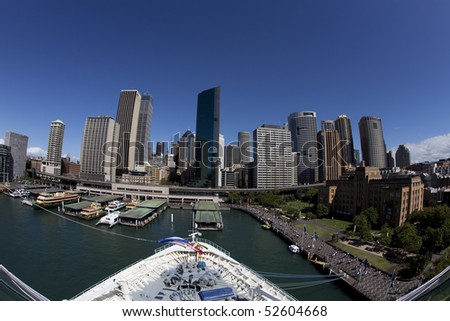 City Skyline at Circular Quay, Sydney, Australia from a cruise ship - stock photo