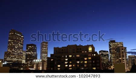 City skyline at dusk - stock photo