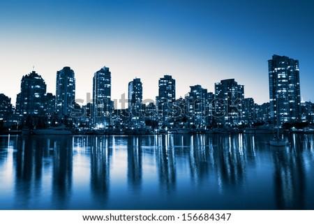 City Skyline at Night - stock photo