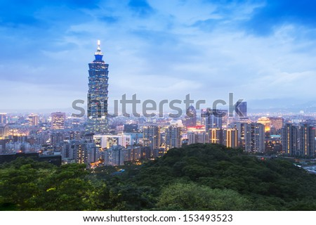 City skyline in night and buildings in Taipei, Taiwan - stock photo