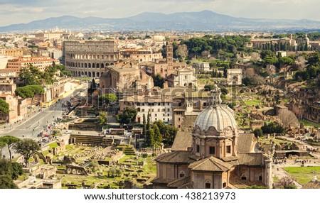 city skyline of Rome Italy - stock photo