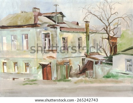 City skyline. The old house. Painting. Watercolor - stock photo