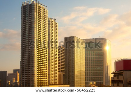 City skyline, Tokyo, Kanto Region, Honshu, Japan - stock photo
