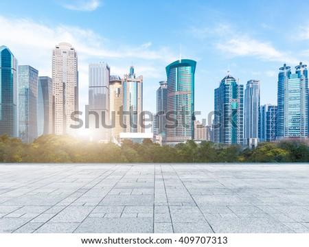 city skyline under blue sky,shanghai china. - stock photo