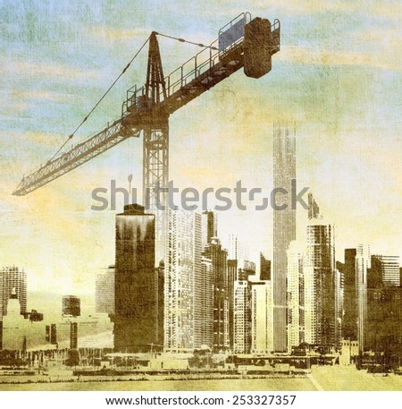 City skyline with big crane - stock photo