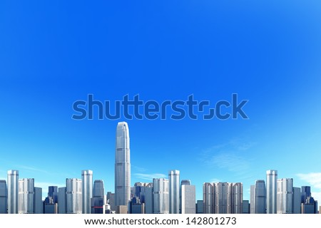 City skyline with blue sky background, great for your design - stock photo