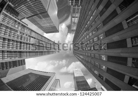 City Skyscrapers, Fisheye Upward Street View - stock photo