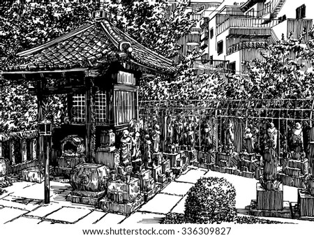 City small temple shrine in Tokyo. Black and white dashed style sketch, line art, drawing with pen and ink. Retro vintage picture.
