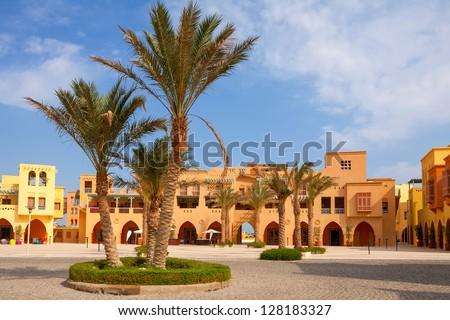 City square in Abu Tig Marina. El Gouna, Egypt - stock photo