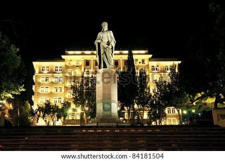 city square night scene in baku azerbaijan - stock photo