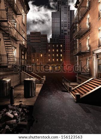 City street at night - stock photo