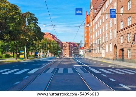 City street in Helsinki, Finland - stock photo