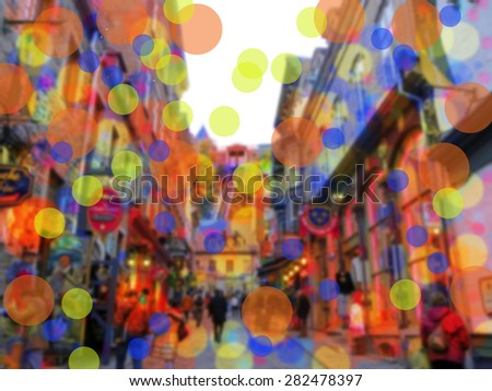 City street scene in Old Quebec - bokeh - stock photo