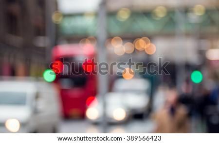 City Street Scene. Soft Focus. People Urban Lifestyle - stock photo